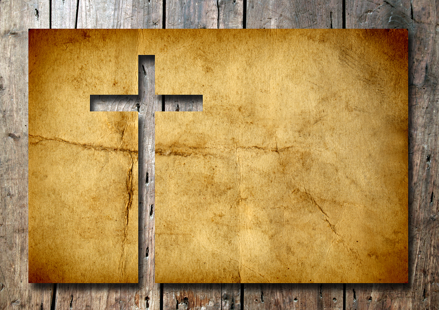 High resolution christian cross cut in an old grungy or vintage