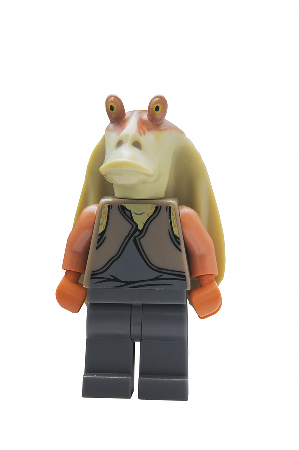 ADELAIDE AUSTRALIA - January 09 2015:A studio shot of an Jar Jar Binks Lego minifigure from the Star Wars Movie Series. Lego is extremely popular worldwide with children and collectors.
